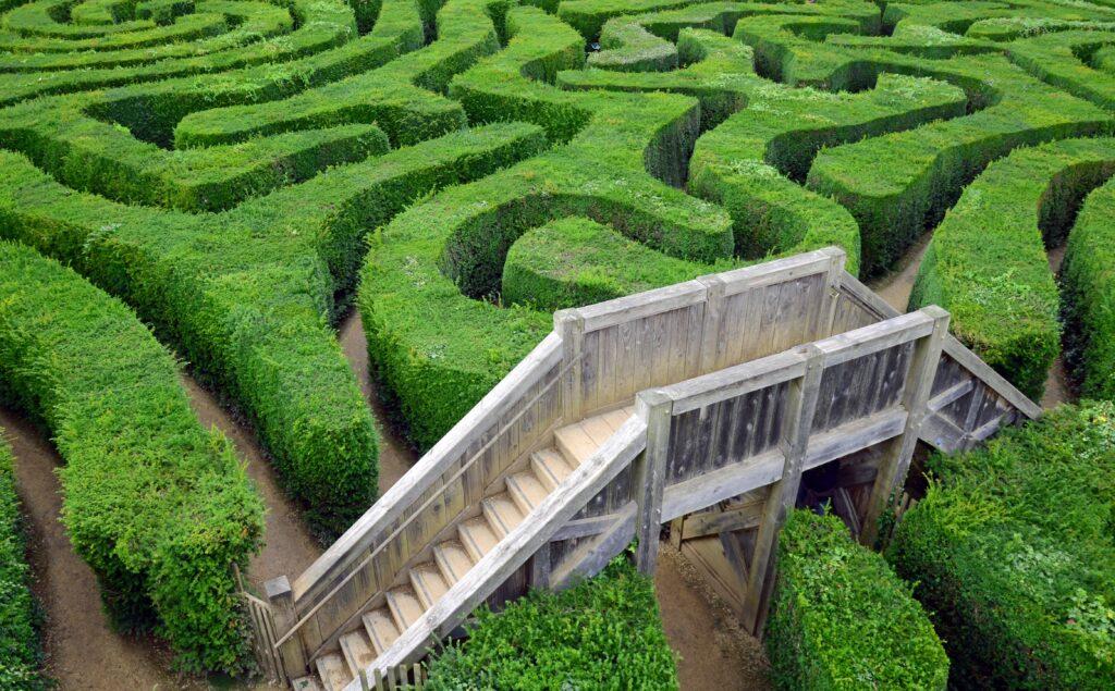 Ausblick über ein Labyrinth
